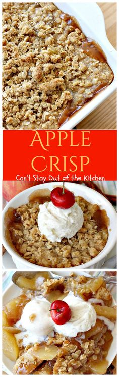 Apple Crisp – Can't Stay Out of the Kitchen Fabulous apple recipe with a wonderful streusel topping. This quick and easy recipe is great for breakfast or dessert. Apple Desserts, Delicious Desserts, Dessert Recipes, 9x13 Baking Dish, Glass Baking Dish, Apple Dumplings, Apple Crisp Recipes, Cupcakes, Pudding Recipes