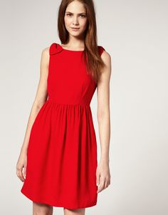 Silk Baby Doll Dress With Bow Shoulder - Lyst