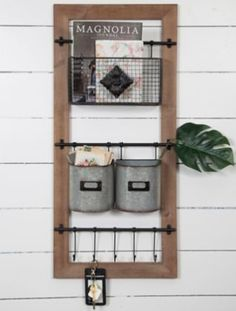 Basket and Hooks Wooden Wall Organizer Modern Farmhouse Home Decor is something I adore and can't get enough of. This mail holder is beautiful.Modern Farmhouse Home Decor is something I adore and can't get enough of. This mail holder is beautiful. Country Farmhouse Decor, Modern Farmhouse Kitchens, Farmhouse Style Kitchen, Home Decor Kitchen, Farmhouse Shelving, Primitive Country, Modern Country, Farmhouse Design, Mail Organizer Wall