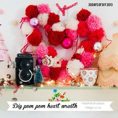DIY pom pom heart wreath made using a wire coat hanger! http://www.ivillage.co.uk/30-days-christmas-diy-pom-pom-heart-shaped-wreath/169168