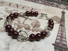 Heart bracelet, marsala jewelry, valentines day, by BaublesDesigns4U