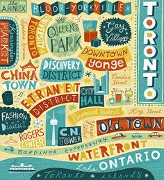 love the colors and handwritten style toronto map (by linzie hunter).