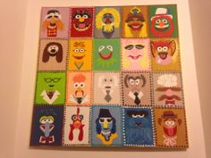 """My latest piece! Hand painted Jim Henson """"Muppets"""" inspired canvas piece(20x20inches). With 20 characters all together!! Headed to a customer in Missouri.  :)https://www.facebook.com/buggybeandesigns"""