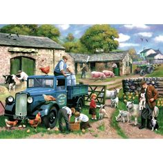 """""""Spring Farm"""" - Spring farm is a fantastic puzzle for all ages. It makes a great gift for #farmers and fans of #vintage #farming equipment"""