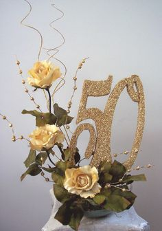 50th Anniversary Table Decorations | 50th centerpieces with pictures, roses and cutouts | www ...