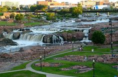 """Free"" Falls Park - Sioux Falls, South Dakota! Spend a day at the falls, climb rocks, go fishing, have a picnic, climb the tower, ride the trolley, roll down a grassy hill, you could even stay super late for the lazer light show after dark in the summer."