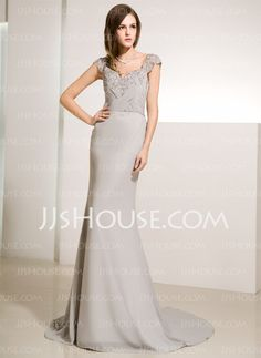 Mother of the Bride Dresses - $142.99 - Mermaid V-neck Court Train Chiffon Charmeuse Mother of the Bride Dresses With Ruffle Beading (008014219) http://jjshouse.com/Mermaid-V-Neck-Court-Train-Chiffon-Charmeuse-Mother-Of-The-Bride-Dresses-With-Ruffle-Beading-008014219-g14219