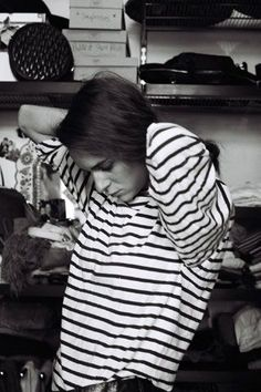 Someone get me an oversized black and white striped long-sleeved t-shirt... Thanks