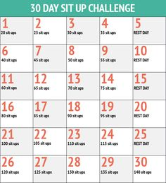 30 Day Sit Up Challenge - 30 Day Fitness Challenges