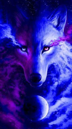 Anime Wolf, Artwork Lobo, Wolf Artwork, Cute Fantasy Creatures, Mythical Creatures Art, Wolf Wallpaper, Animal Wallpaper, Tree Wallpaper, Iphone Wallpaper
