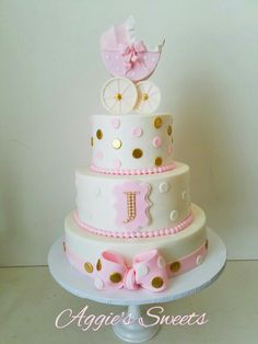 White, pink, and gold baby shower cake More