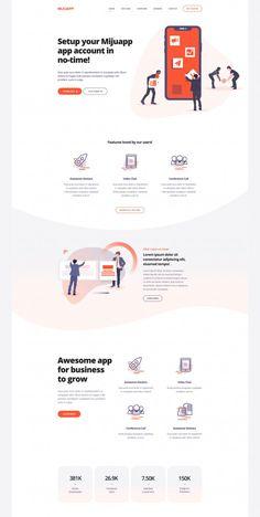 Web Design Company >> Mijuapp Mobile App Landing PSD Template — Themes & Templates on Web Design Trends, Ui Ux Design, Web Design Grid, Web Design Mobile, Web And App Design, Site Web Design, Web Design Websites, Web Mobile, Web Design Quotes
