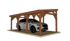 Single Car Lean to Carport - Free DIY Plans | HowToSpecialist - How to Build, Step by Step DIY Plans