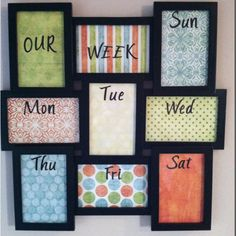 Weekly planner for meals, appointments, etc.  Made using a photo collage frame, scrapbook paper and stickers. Use a dry erase marker to write on glass!