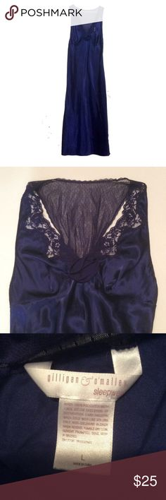 Luxurious sleepwear gown Preloved in good condition, this robe has great detailing, soft satin fabric lace interfaces, side buttons, a flower...size L, 54 inches long, lots of stretch in the rib cage area, blue/purple Gilligan & O'Malley Intimates & Sleepwear