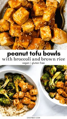Peanut Tofu Bowls (Vegan, Gluten Free) Put these easy peanut tofu bowls on your dinner menu ASAP! It's the perfect balanced vegan meal – brown rice, broccoli, and tofu drenched in the best homemade peanut sauce. Vegan Dinner Recipes, Veggie Recipes, Asian Recipes, Whole Food Recipes, Cooking Recipes, Healthy Recipes, Gluten Free Recipes Asian, Healthy Vegan Meals, Vegetarian Sauces