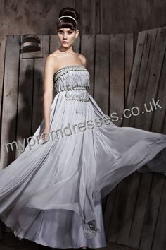 Floor Length Strapless Gray Chiffon A-line Evening Dress  http://www.mypromdresses.co.uk