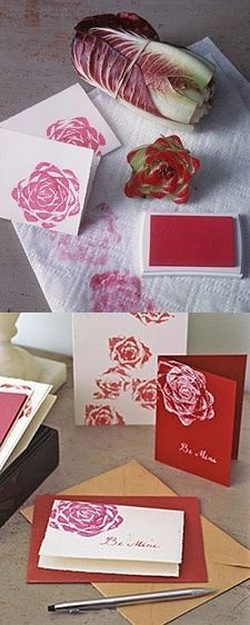 Use a head of lettuce as a  rose stamp!!