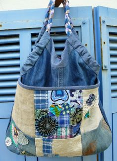 denim, indigo, recycled, recycling, shirt, cotton, patchwork, quilt, bag, bag, bag, cotton, flax, linen 1 of 2