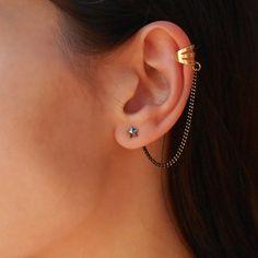 Star ear cuff earrings Swarovski star earrings with by Maleena09, $10.50