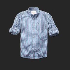 Mi sono appena innamorato di questa camicia!  Brand New Abercrombie & Fitch Checked Plaid Long-sleeved Shirt Turquoise
