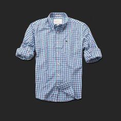 Mi sono appena innamorato di questa camicia!  Brand New Abercrombie & Fitch Checked Plaid Long-sleeved Shirt Turquoise