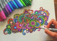 colourful doodle with sharpie/bic. not really a mandala but I'm putting it in here anyway.