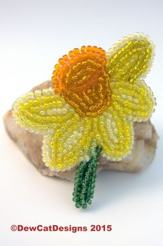 Beautiful beaded daffodil brooch