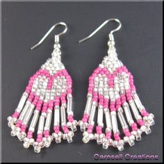 Heart's Delight Seed Bead Dangle Earrings in Pink and White TAGS - Jewelry, Earrings, Beaded, carosell creations, jewelry, glass, seed beads, bugle, pink, white, valentine, holiday, gift, earrings, dangle, small, petite, dainty, love, heart, romantic, sweet, spring, teen, girls, ladies, fashion, brick stitch, weave, pierced, accessories, native american, etsy, women, hand made