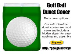 Golf Ball Duvet Cover. Many color options. Our soft microfiber duvet covers are hand sewn and include a hidden zipper for easy washing and assembly http://fineartamerica.com/products/golf-ball-roger-smith-duvet-cover.html #golf #home #duvet #giftideas #bedroom