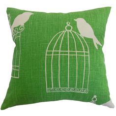 Made in the USA, this lovely cotton pillow brings charming style to your decor with a vintage-inspired birdcage motif.       Product: ...