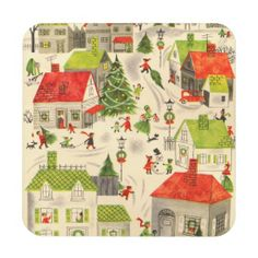 Little Christmas Village Beverage Coasters