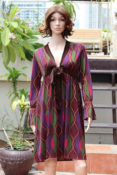 03cd5e03e8a Retro Attractive Colorful Fancy Long Women Long Sleeve Dress  15.00 USD  Only 1 available https