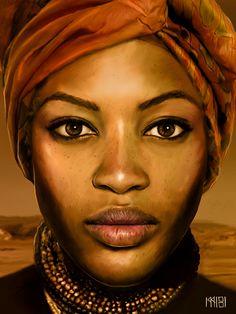 """""""A Woman"""" - Sira Sandberg {contemporary figurative art female head african headdress black face portrait digital painting} sirasandberg. African Beauty, African Women, Art Afro Au Naturel, Inspiration Drawing, African Paintings, African Artwork, Natural Hair Art, Black Artwork, Afro Art"""