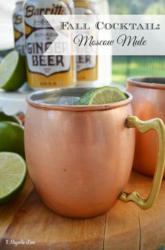 Fall Cocktail:  The Moscow Mule; an easy and yummy recipe served in a gorgeous copper mug--what's not to love?!
