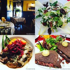 I was born in & spent most of my life in #historic Bucks & Montgomery Counties #Pennsylvania where many centuries old buildings are the norm. A year ago was the last time I enjoyed the Carversville Inn near #NewHope - beautiful w/equally beautiful food: #salad of #endive #watercress spicy #pecans etc. wild #mushroom ragout w/#pickledredcabbage  #gruyere & #pumpkin #pastrami w/ #balsamic #onions & gruyere on #pumpernickel #IFWTWA #foodiefriday @uncoveringpa #pennsylvaniarestaurants