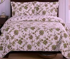 Cottage Sage Green Floral Leaves Lightweight Quilt Coverlet Set Oversized.  Reversibke bedding set for 2 look in one.  #rustic #country