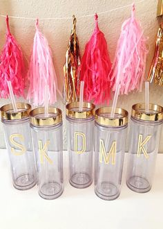 Gold foil initial monogram skinny tumbler, customized just for you! Product Specifications: 16 oz Double Wall Acrylic Tumbler BPA free...