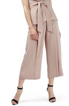 Topshop Pinstripe Wide Leg Crop Pants available at #Nordstrom