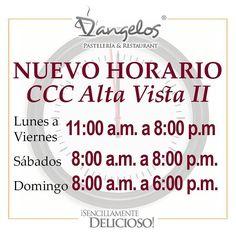 D'angelos de CCC Alta Vista II (Macro Centro) con nuevo horario de lunes a viernes de 11am a 8pm sábados de 8am a 8pm y domingos de 8am a 6pm. Con la calidad y atención de siempre!  #Gastronomía #Gourmet #SencillamenteDelicioso #Guayana #Pzo #Delivery