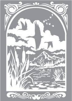 Glass etching stencil of Marsh Scene with Ducks and Clouds. In category: Birds, Centers, Door Lites, Trees, Water Fowl