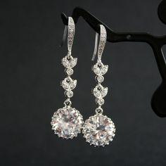Wedding Earrings Wedding Jewelry Cubic Zirconia Bridal Earrings Silver. $36.00, via Etsy.