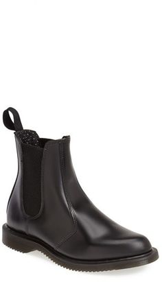 """Dr. Martens 'Flora' Chelsea Boot (Women) An essential Chelsea boot cast in smooth leather punctuates your street style with a hint of old-school flair. 1"""" heel; 1/2"""" platform (size 9). 7"""" shaft."""