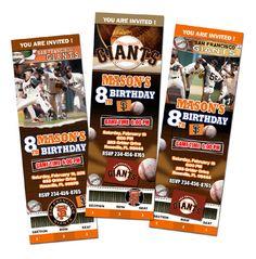 San Francisco Giant Birthday Party Invitations