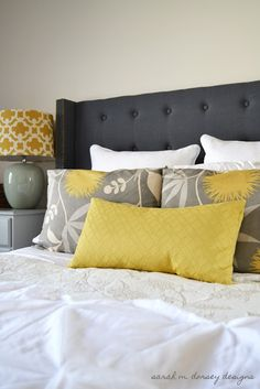 This would be awesome to make for the guest bedroom and it is the color theme I am thinking of too! sarah m. dorsey designs: DIY Headboard Complete!
