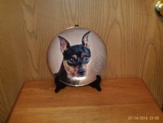 """DANBURY MINT CHERISHED MINIATURE PINSCHER. LIMITED EDITION COLLECTORS PLATE. SIZE - 8"""". CONDITION - VERY NICE NO CHIPS OR CRACKS. Duffle Bags. Floral Bags. Animal Bags.   eBay!"""