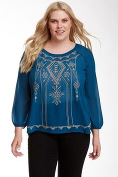 Blu Pepper Embroidered Cutout Blouse (Plus Size)