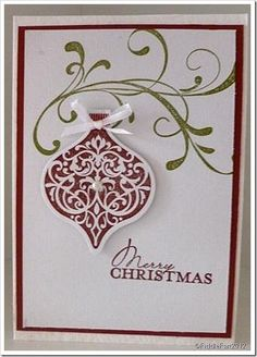 stampin up christmas bauble cards Christmas Cards 2017, Christmas Paper Crafts, Homemade Christmas Cards, Stampin Up Christmas, Christmas Gift Tags, Christmas Baubles, Christmas Greeting Cards, Homemade Cards, Handmade Christmas