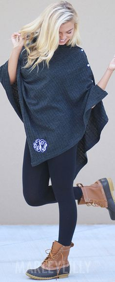 This Monogrammed Poncho sweater is a Fall must-have oufit!