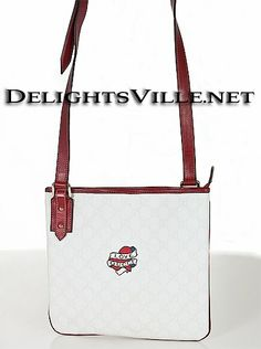 7011086eb41 Gucci 239347 Cross Body LOVE Messenger Bag White   Red silver hardware PVC  coated canvas with